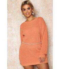 plus crew neck sweater dress, apricot