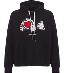 palm angels bear oversize cotton hoodie