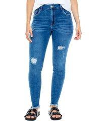 high waist skinny fit jeans con rotos y ruedo desflecado color blue