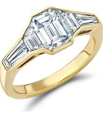 pragnell 18kt yellow gold kingdom emerald cut diamond ring