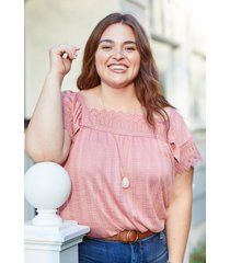 maurices plus size womens pink crochet trim square neck top