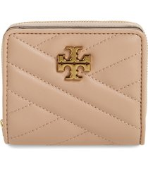 women's tory burch kira chevron quilted bifold wallet - beige