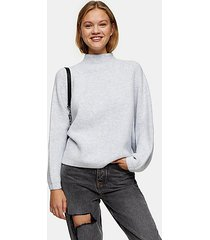 blue funnel neck knitted sweater - blue