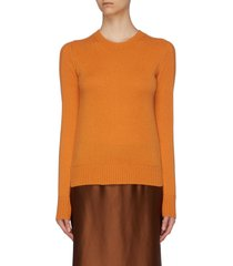 rib sleeve cashmere sweater