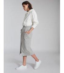 reiss clara - jersey midi skirt in grey marl, womens, size l