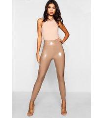 vinyl stretch leggings met hoge taille, zand