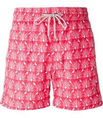 love brand peacock print swim shorts - red