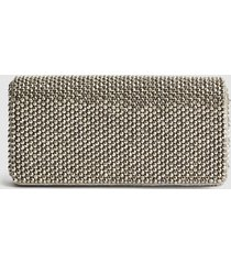reiss zoey - embellished clutch bag in silver, womens