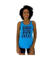 regata feminina alto conceito projeto agora eu fico top azul piscina