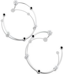 natori indochine alternate black diamond hoop earrings, women's natori