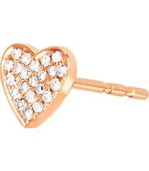 14kt diamond single heart stud earring