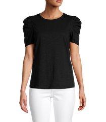 sanctuary women's crewneck puffed-sleeve top - black - size xs