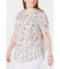 seven7 jeans trendy plus size printed split-sleeve top