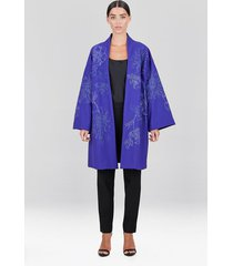 compact knit crepe embroidered caban jacket, women's, size l, josie natori
