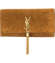 yves saint laurent pre-owned monogram tassel clutch - brown
