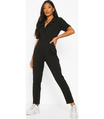 soft ribbed collar detail button through jumpsuit, black