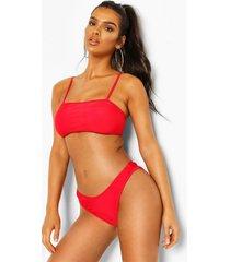 square neck high leg bikini, red
