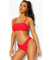 square neck high leg bikini, red