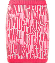 just cavalli all over logo skirt - pink