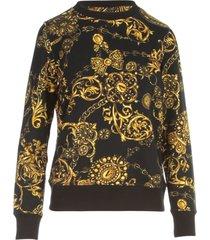versace jeans couture baroque printing crew neck sweatshirt