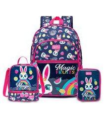 kit mochila menina com lancheira e estojo spector infantil azul/rosa.