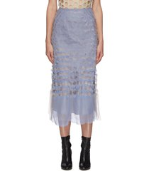 punctured layer sheer skirt
