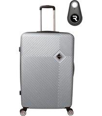 mala de bordo padrão anac em abs - santino - 19 polegadas com localizador bluetooth reaggio - prata