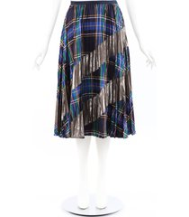 tanya taylor reyna multicolor plaid pleated skirt blue/multicolor sz: s