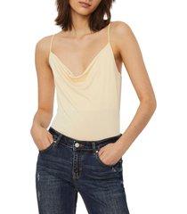 women's vero moda frankie bodysuit, size medium - beige