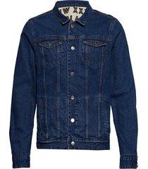 reversible denim and canvas trucker jacket with allover prin jeansjack denimjack beige scotch & soda