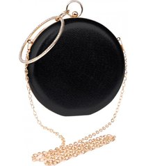 bolsa clutch liage redonda alça removível argola punho metalizada metal strass cristal pedra preta e dourada
