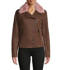 joujou women's faux fur-collar faux leather jacket - chocolate - size m
