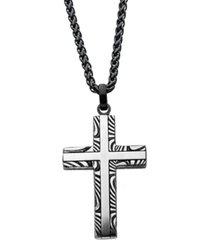 men's stainless steel damascus cross pendant