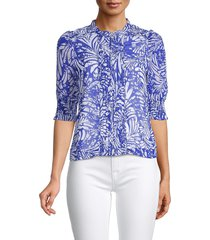 walter baker women's madison print shirt - blue - size l