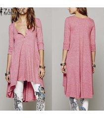 zanzea vestir ocasional de las mujeres suelta de algodón elegantes botones de cuello en v manga de la mitad más vestidos asimétricos (rosa) -rosado