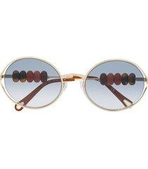 chloé eyewear beaded oval-frame sunglasses - gold