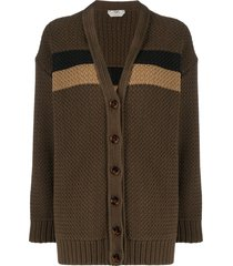fendi striped panel knitted cardigan - brown