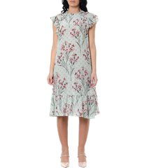 red valentino crepe de chine multicolor floral print dress
