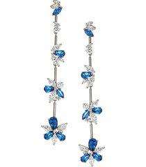 silvertone, blue & white cubic zirconia linear earrings