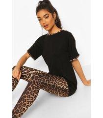 leopard ringer pj legging set, black