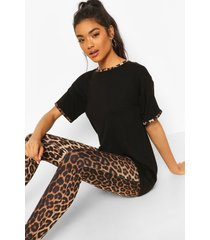 luipaardprint pyjama set met leggings en contrasterende zoom, zwart