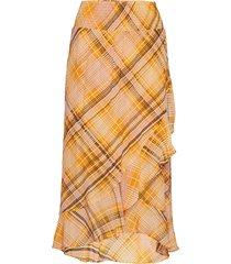 loch midi skirt knälång kjol gul second female
