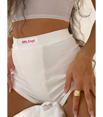 shorts de cintura elástica con letras súper elásticas