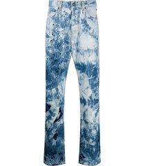 msgm tie-dye straight-leg jeans - blue