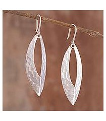sterling silver dangle earrings, 'patterned slits' (peru)