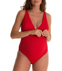 pez d'or beatriz one-piece maternity swimsuit, size x-large in red at nordstrom