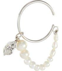 rutilated quartz charm freshwater pearl white gold plated single ear cuff