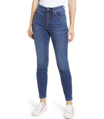 women's jag jeans valentina pull-on high waist exposed button ankle skinny jeans, size 12 - blue