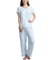 muk luks lace-trim printed pajama set