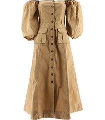 ganni ripstop cotton military dress